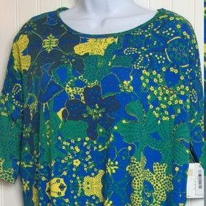 NWT LuLaRoe Irma XS green yellow blue floral